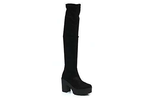 Womens Mesdames Chunky sur le genou stretch Fashion Trend Bottes Taille 3–8 Noir