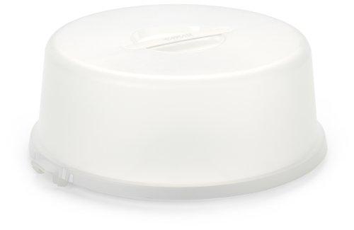 Emsa 504916 Kuchenbox mit Haube, Ø 33 cm, Höhe 13.5 cm, Weiß, Basic