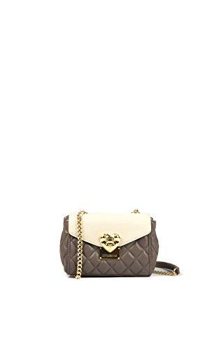 Love Moschino JC4001 borsa donna clutch tracolla pochette in eco pelle beige e taupe grigio