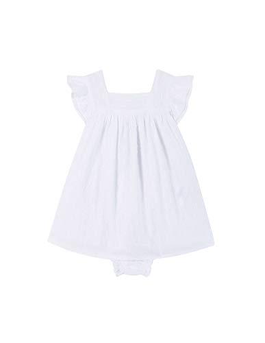 Gocco Vestido Detalle Volantes Vestido, Bebé-Niñas, Blanco (Blanco WA), 80 (Tamaño del...