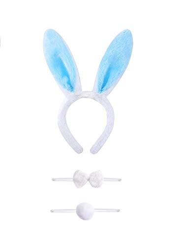 ene Kostüm Set 3 Stücke Kaninchen Bunny Ohren Stirnband Fliegen Krawatte Schwanz Set Party Cosplay ()