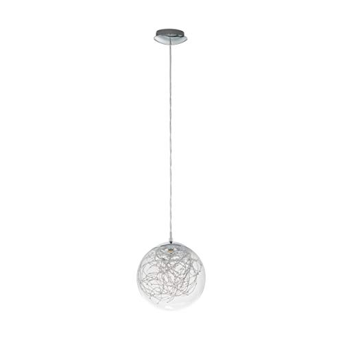 Suspension Led design boule VALENCA transparente et argentée en verre