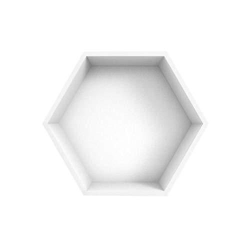 LALAWO Hauptdekoration Lagerregal Magnetisches Sechseck-Regal - Gitter-Wohnzimmer-Hintergrund-Wand-dekorativer Rahmen-Wand-Berg-Wand-Fach (Farbe : Weiß)