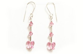 Earrings Sterling Silver with Light Rose Pink Swarovski Crystals Butterflies