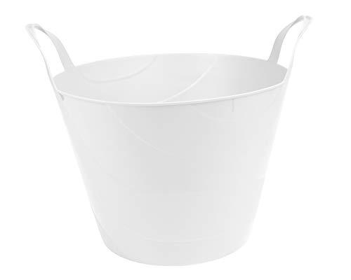 Ondis24 Flexi Tub Billy 30 Liter, Flexibler Tragekorb, für Flüssigkeiten geeignet, Gartenkorb rund, Wäschekorb weiß