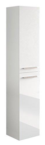 Miroytengo Columna Aseo baño para Lavabo suspendida en Color Blanco Brillo con Tiradores y 2 Puertas diseño Actual 30x25x150 cm