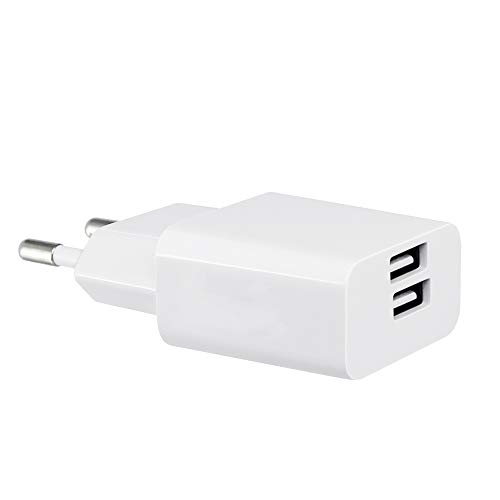 BERLS Chargeur Secteur USB 2 Ports Universel Chargeur Mural (5V 2A) Adaptateur USB Universel pour Apple iPhone, iPad, Android, Samsung Galaxy, Wiko, LG, HTC, Huawei, Nexus, OnePlus, Xiaomi