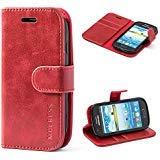 Mulbess Ledertasche im Ständer Book Case / Kartenfach für Samsung Galaxy S3 mini Tasche Hülle Leder Etui,Wine Rot