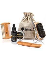 Kit para el cuidado y corte de barba,para hombres de SAILINE; cepillo para barba, peines, acondicionador de aceite para barba y bigote, bálsamo, cera, tijeras de peluquero; set portátil(6 in 1)