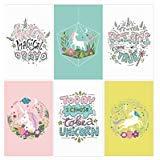 Juego de 6 pósteres de unicornio de 11x17 para la pared | Decoración de habitación de unicornio para niñas adolescentes | Pósteres de unicornio para niñas y niños