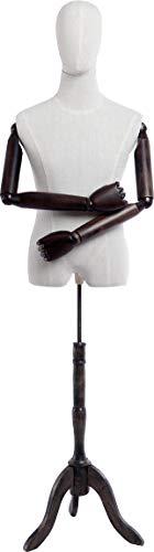 Eurotondisplay Schneiderpuppe, Leinenbezug stoffbezogenen Oberkörper und Kopf,Arme und Finger aus Holz beliebig verstellbar, dunkler Holzstand (A-9-T-G männlich)