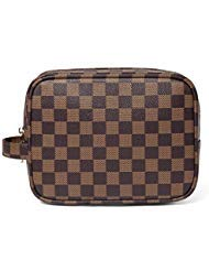 Daisy Rose Luxus Checkered Make Up Bag | Pu Vegan Leder Cosmetic Toiletry Reisetasche Klein Braun