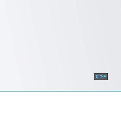 Spiegel ID ZUSATZOPTION für LED Badspiegel: Digital Uhr (24 Stunden Anzeige - Blaue Ziffernfarbe) - Position: unten rechts