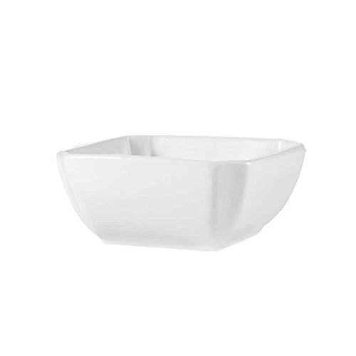 ingsquare 8-Ounce Super White Porcelain Square Bowl, 4 by 4 by 1-3/4-Inch, 36-Pack ()