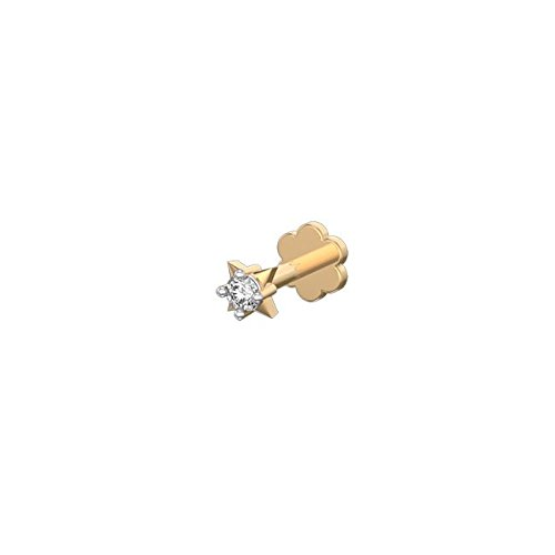 Silvernshine 14k Yellow Gold Fn Single Stone Sim.Diamond Piercing Nose Pin With Screw