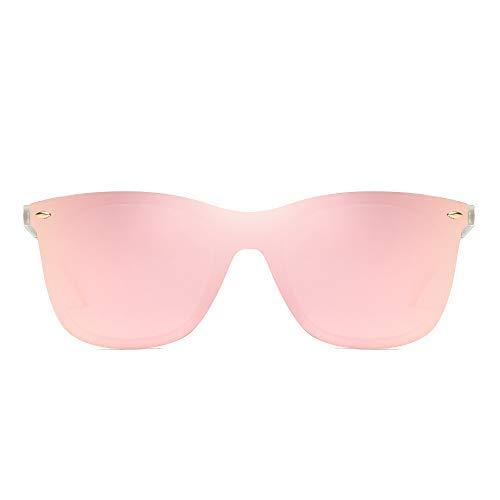 Randlos Spiegel Sonnenbrille Ein Stück Rahmenlos Brille Damen Herren(Transparent/Spiegel Rosa)