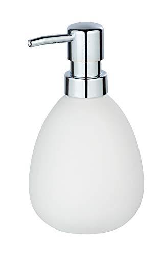 WENKO 24011100 Seifenspender Polaris matt, Flüssigseifen-Spender, Spülmittel-Spender Fassungsvermögen: 0,39 l, Keramik, 9,5 x 16 x 9 cm, weiß -