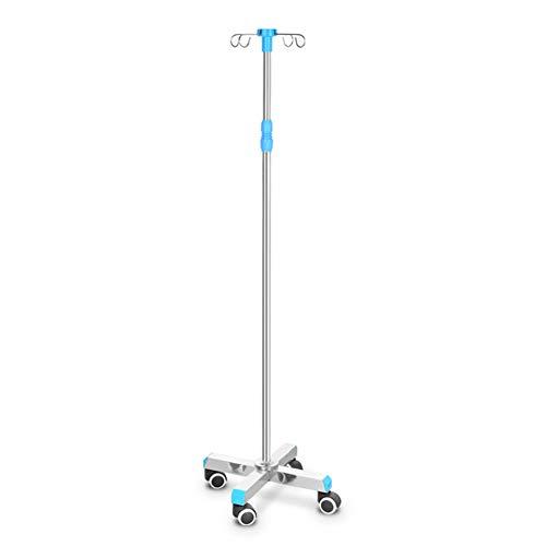 Salon Trolleys Trolley Tragbarer Deluxe Infusionsständer mit höhenverstellbarem Infusionsständer mit beweglichen Rollen für Klinik oder Zuhause, Edelstahl, 4 Haken (Farbe : Stainless Steel Base)