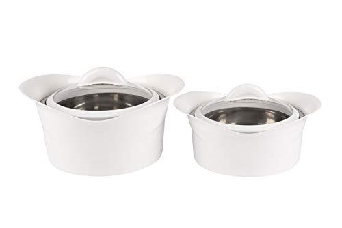 XXL Thermoschüssel (Set) Isolierschüssel Kasserolle mit Deckel (3,5+2,2 Liter. Farbe Weiß