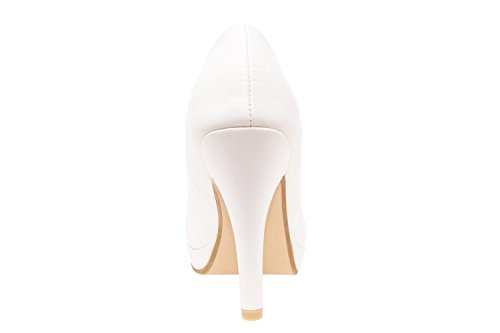 Andres Machado.AM554.Peep-Toes Vernis.Pour Femmes.Grandes Pointures . Blanc.N