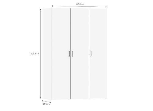 116x49x175cm Esidra Armadio Bianco a 3 Ante nordeck.net