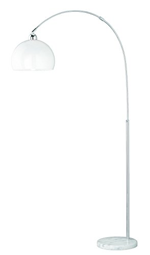 Reality Leuchten Junior Bogenleuchte, Metall, E27, Chrom/Weiß, 30 x 30 x 210 cm -