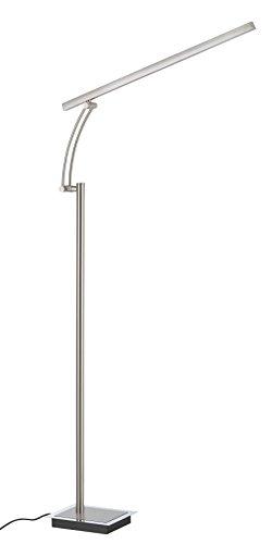 Briloner Leuchten LED Stehleuchte, Stehlampe, Fluter 1 x 11 W, 800 lm, stufenlos dimmbar, inkl. Tastdimmer, schwenkbar, matt-nickel, 1314-012