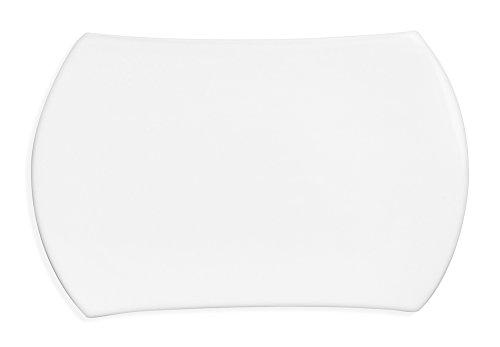Berghoff Concavo Contemporain en Porcelaine vitrifiée rectangulaire Assiette à Pain, Blanc, 22.5 cm