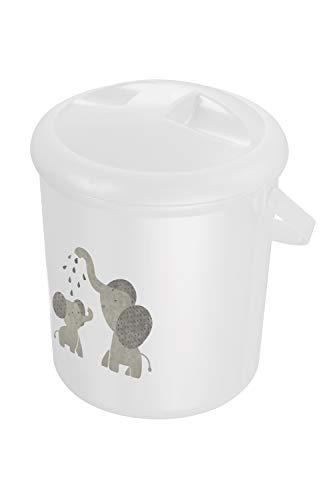 Rotho Babydesign Cubo para Pañales, 10 l, A partir de 0 Meses, Modern Elephants Bella Bambina, Blanco...
