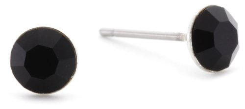 Pilgrim Damen-Ohrring Stud Earrings Versilbert, Schwarz 646-103