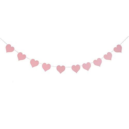 Domire Herz-Flaggen-Fahnen-Filz für Hochzeit Baby Shower Geburtstag Festival-Party-Start Garland Dekoration Rosa - Für Die Geld-baum Partei