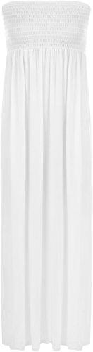 Langen, Weißen Maxi-kleid (WearAll - Damen einfachen shirred bandeau trägerloses mit rüschen besetztes langes Maxi Kleid - Weiß - 36-38)