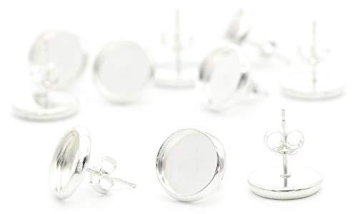 NaturSchatulle Ohrstecker mit Fassung Rohlinge 5 Paar Sterling Silber Butterfly Verschluss Ohrringe Basteln DIY Schmuckherstellung Nickelfrei