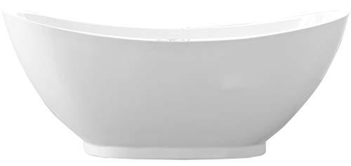 Freistehende Badewanne VALENZIA Acryl Weiß - 175x85cm - Standarmatur optional wählbar, Standarmatur:Ohne Standarmatur, Siphon:Ohne Siphon