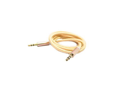 2 Metre Strong Metal Braided AUX Cable Male to Male Audio Extension Wire for ZTE