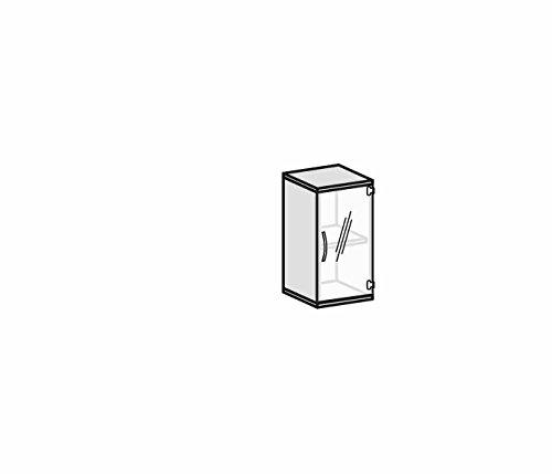 Flügeltürenschrank mit satinierter, rahmenloser Glastür, 1 Dekor-Einlegeboden, nicht abschließbar, Griff links, 400x425x768, Ahorn