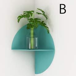 Schwimmende Ecke Regal (QAL Schwimmendes Regal, Metallwandstruktur mit abgerundeten Ecken Die Aufbewahrung Struktur kann für Topfpflanzen und für den Raum geeignete Ornamente verwendet Werden Blue-B)