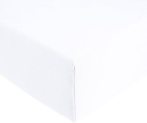 Amazonbasics 'everyday' lenzuolo con angoli singolo, in 100% cotone, bianco 90 x 190 x 30 cm