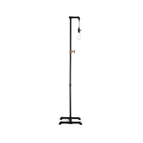 Retro industrielle Metallrohr vertikale Stehlampe, einfache Schlafzimmer Nacht Wohnzimmer Angeln Stativ Stehlampe (schwarz)