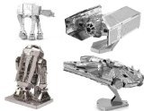 Metal Earth 3D Model Kits - Star Wars Set of 4 - Darth Vader's TIE Fighter, R2-D2, AT-AT, Millenium Falcon