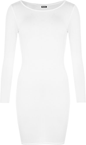 Mini abito a tubino da donna, a maniche lunghe, misure da 40 a 46 White 44/46