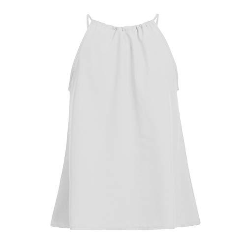 Damen T Shirt, CixNy Bluse Damen Kurzarm Sommer Ärmelloses Trägershirt Für Sexy Camisole Oberteil Tops (Weiß, X-Large)