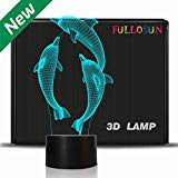Nachtlicht für Kinder Ocean Dolphin 3D Nachtlicht Schweinswal Nachttischlampe 7 Farbwechsel Weihnachten Halloween Geburtstagsgeschenk für Kind Baby ()