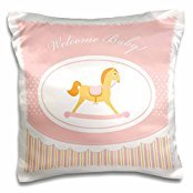 Belinha Fernandes - Hello Baby gifts - Baby girl rocking horse on pink and white stripes background and welcome message - 16x16 inch Pillow Case