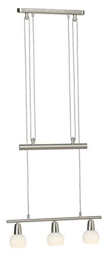 Brilliant Mona Pendelleuchte Balken 3 flg 52cm höhenverstellbar eisen/chrom-alabaster Glas, 3x E14 geeignet für Tropfenlampen bis max. 40W