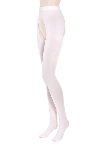 GLAMORY G-50129 Ouvert 20 Damen schrittoffene Strumpfhose, Weiß (Weiß), X-Large (48-50)