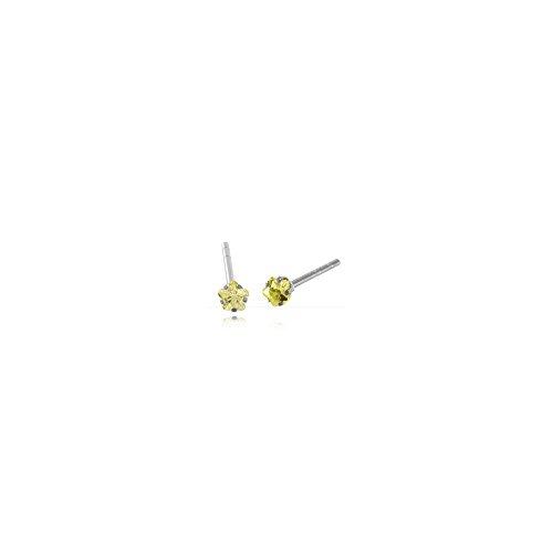 Clous d'oreille acier cristal Fleur 3mm griffée Peridot