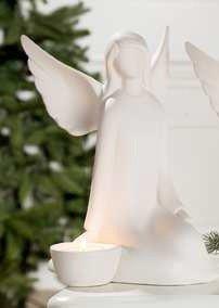 Gilde Engelskulptur Engelfigur Francis Engel Agneta sitzend mit Teelichthalter