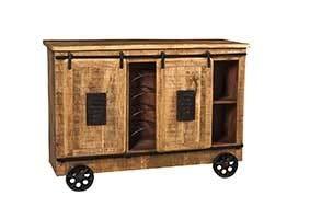 Licht-Erlebnisse Barwagen HEMLEY 145x103x53 cm Mangoholz Metall Rollen Hellbraun Vintage Wohnzimmer