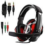 JAMSWALL Auriculares Gaming PS4, Cascos Gaming, Auriculares Cascos Gaming de Mac Estéreo con Micrófono Juego Gaming Headset con 3.5mm Jack Luz LED Bajo Ruido Compatible con PC/Xbox One/Nintendo Switch